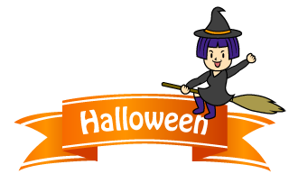 Girls witch Halloween banner ribbon
