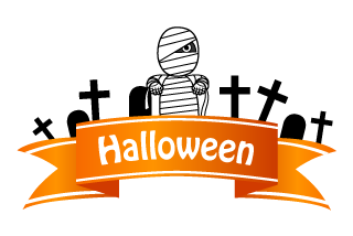 Mummy man in the graveyard Halloween banner ribbon