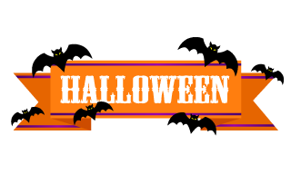 Bat Halloween Banner Ribbon