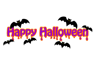 Flying bats Happy Halloween title