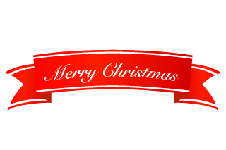 Cursive Merry Christmas Banner Ribbon