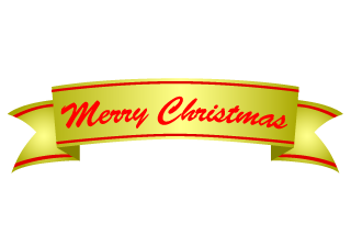 Merry Christmas gold banner ribbon