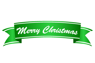 Merry Christmas green banner ribbon
