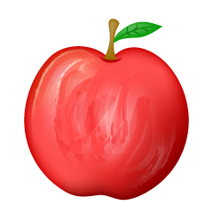 Red apple of handwriting style
