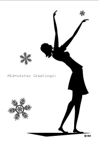 A girl's winter greeting card dancing snowing