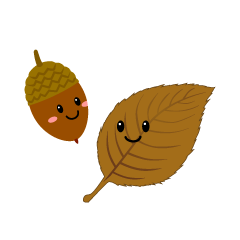 Cute acorn and fallen leaf characters