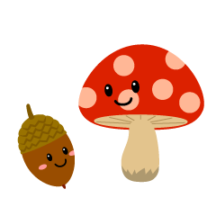 Cute mushroom and acorn character