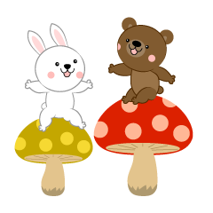 Rabbit and bear sitting on mushrooms