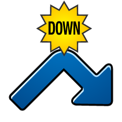DOWN arrow turning from rising to falling