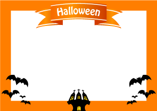 Halloween castle and bat frame