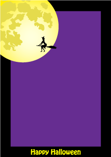 Full moon and flying witch vertical frame