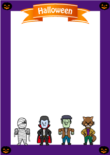 Halloween monster vertical frame