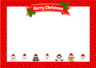 Merry Christmas frame of cute animals