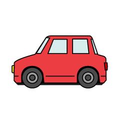 シンプルな白色の 自動車デザインの車イラスト素材です。