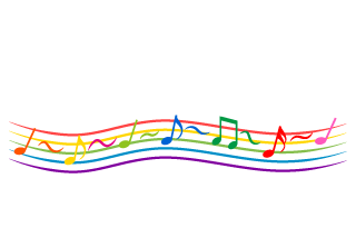 Sheet of colorful flowing musical notes
