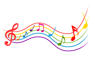 Colorful musical notes spreading music