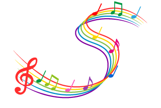 Colorful dynamic music notes