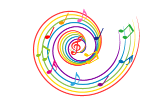 Colorful whirlpool score musical notes