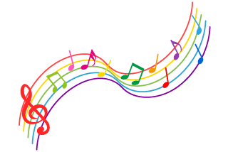 Colorful rising musical notes score