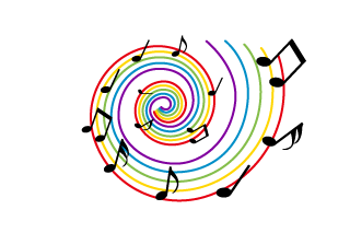 Musical note spreading with a colorful whirlpool
