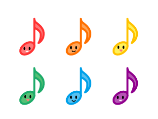 Cute eighth notes character