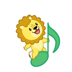 Musical Notes and cute Lion