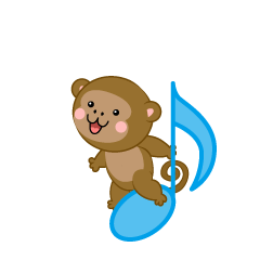 Musical Notes and cute Monkey