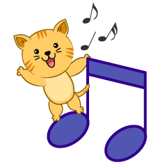 Musical Notes and cute Cat