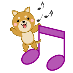 Musical Notes and cute Dog