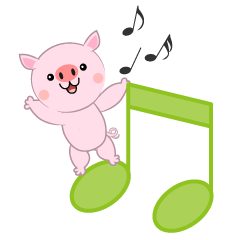 Musical Notes and cute Pig