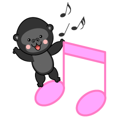 Musical Notes and cute Gorilla