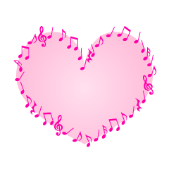 Pink Heart of musical note