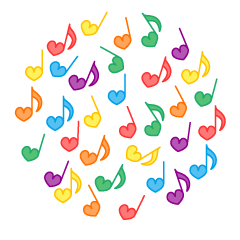 Colorful notes Heart circle