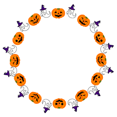 Cute ghost and Halloween pumpkin Circle