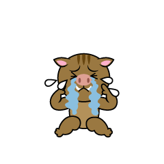 Depressed wild boar character