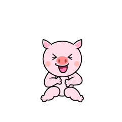 Laughing pig character