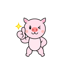 Pig character proud