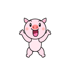 Surprised pig character