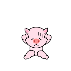Troubled pig character