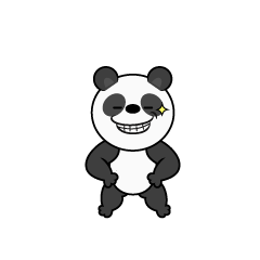 Panda character eating bamboo leaves