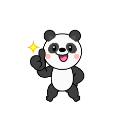 Satisfied panda character