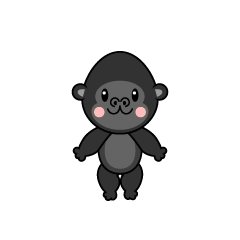 Gorilla character to dance