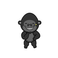 Gorilla character to eat a banana
