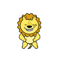 Lion Character to eat Banana