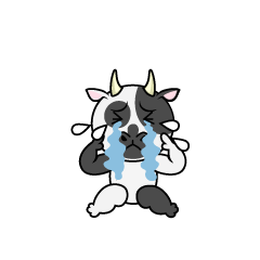 Cow character depressed
