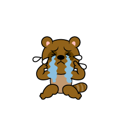 Raccoon Dog character depressed