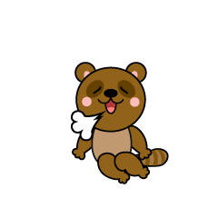 Raccoon Dog Character wearing a Santa cap