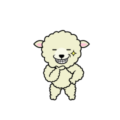 Sheep character eating grass