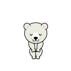 Polar bear character to ski