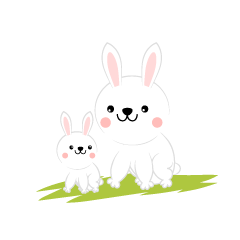 Parent and child rabbit
